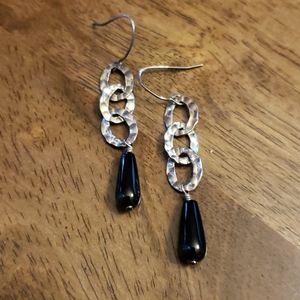 Silpada sterling silver Onyx drop earrings